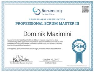 Professional Scrum Master Zertifikat